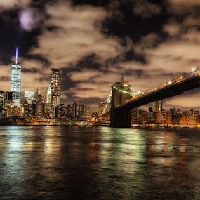 Brooklyn Bride and Freedom Tower Nightscape by Kevin Case - City,  Street & Park  Skylines ( canon, water, nyc photography, nyc, cityscape, nightphotography, kevdia, photography, kevin case, kevdia photography, canon photography, nyc night brooklyn bridge, bridge )