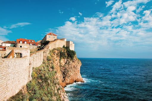 Tere-Moana-Dubrovnik-cliffside - Stroll around Dubrovnik, Croatia, and check out the centuries-old fortifications during your itinerary on Tere Moana.