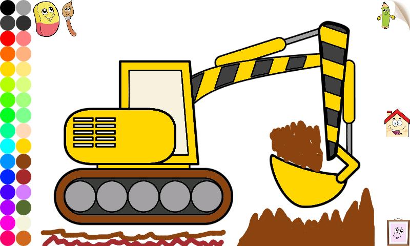 disegni da colorare per bambini escavatori