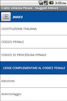 Screenshot of Codici Udienza Penale