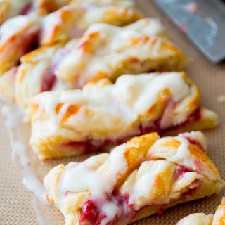 Iced Raspberry Danish Braids Recipe