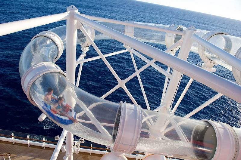 Kids will have fun swooshing down the Aquaduck Tube Curve water slide on Disney Dream — and you'll enjoy the transparency.