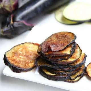 Garam Masala Eggplant Chips with Cilantro Mint Raita.