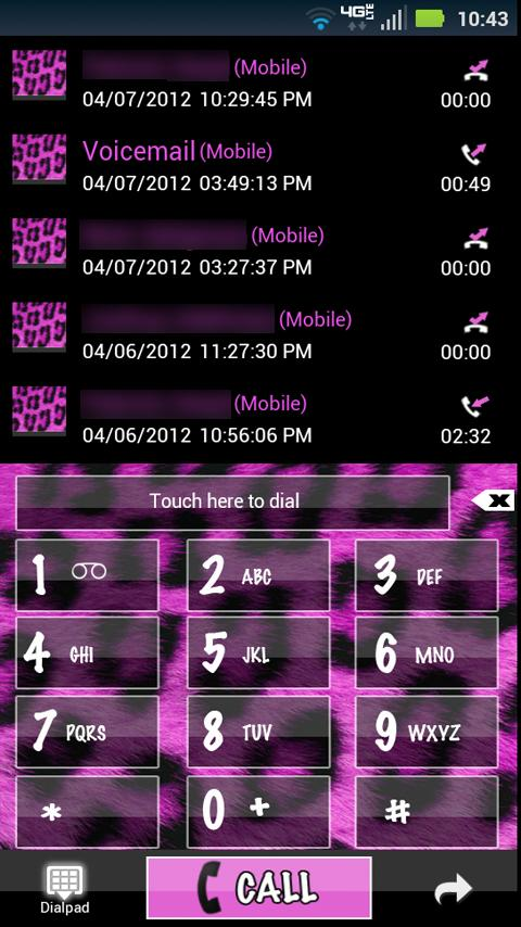 Go Contacts Pink Cheetah Theme- screenshot