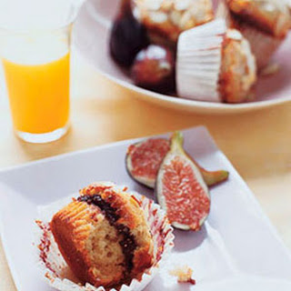 Almond Muffins with Gooey Fig Center.