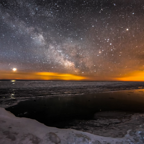 Galactic Rift Over the Frozen Waves by Andy Taber - Landscapes Starscapes ( winter, stars, seascape, beach, sunrise, landscape, starscape, milky way, venus, , snow, cold )