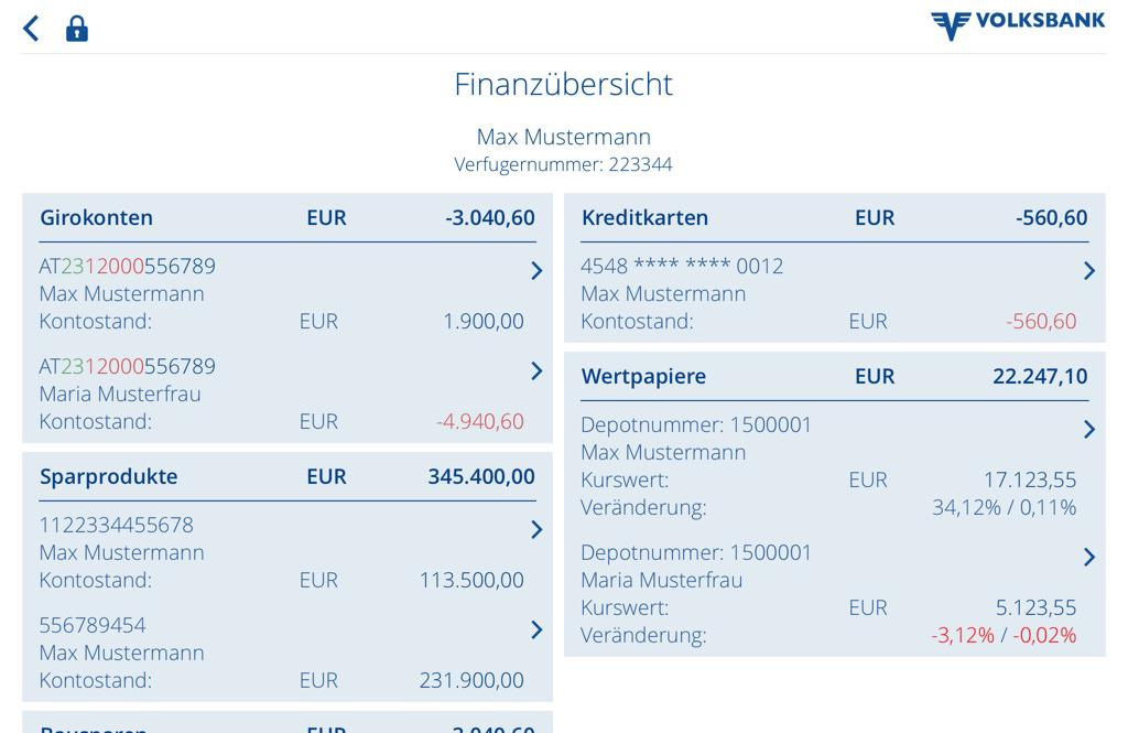 Volksbank Mobile Banking - screenshot