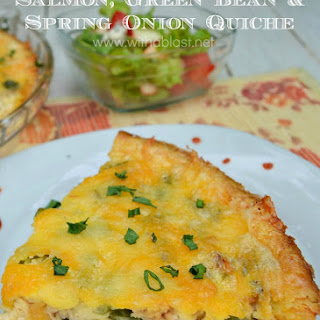 Salmon Green Bean and Spring Onion Quiche.