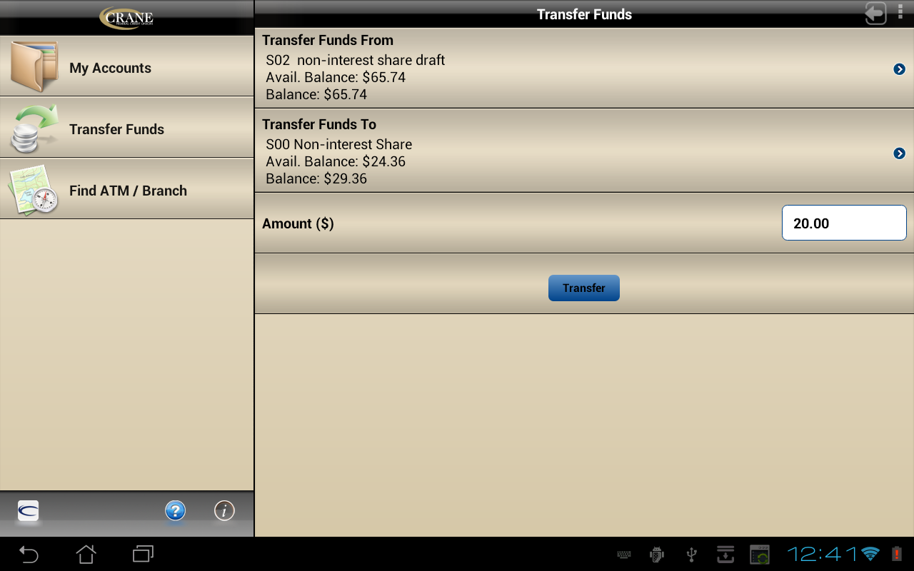 Crane Mobile Banking Tablet - screenshot