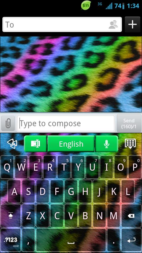 GO Keyboard Rainbow Cheetah- screenshot