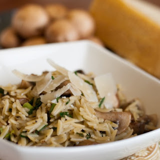Orzo with Mushrooms, Scallions and Parmesan.