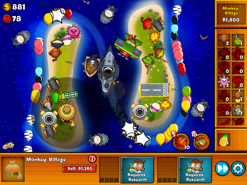 #7. Bloons Monkey City (Android)