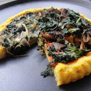 Polenta Pizzas with Kale, Chard, and Parsley Pesto.