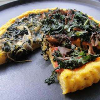 Polenta Pizzas with Kale, Chard, and Parsley Pesto.