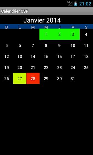 CSP calendar