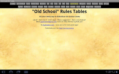 Old School RPG Tables- screenshot thumbnail