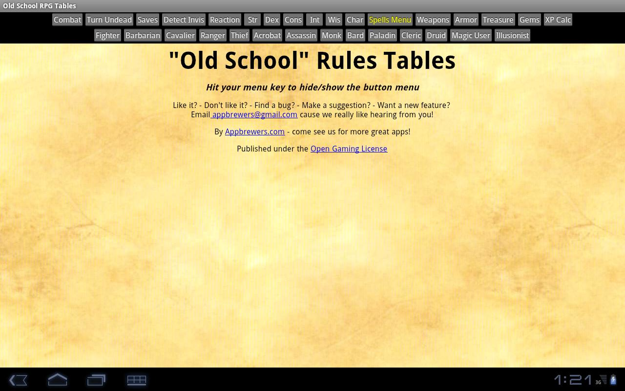 Old School RPG Tables- screenshot