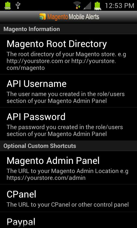 Magento Mobile Alerts - screenshot