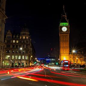 Big Ben London bus by Brian Miller - City,  Street & Park  Historic Districts ( light trail, bus, london, night, big ben,  )