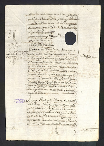 Account of oil collected by Cervantes.