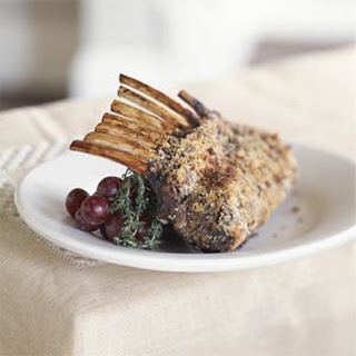 Rosemary-Crusted Rack of Lamb With Balsamic Sauce.