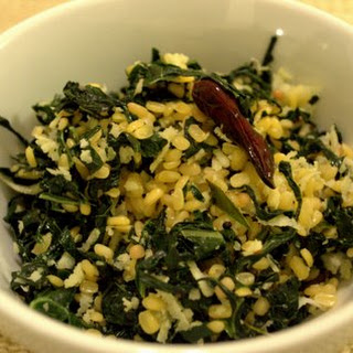 Stirfried Kale with split mung & coconut.