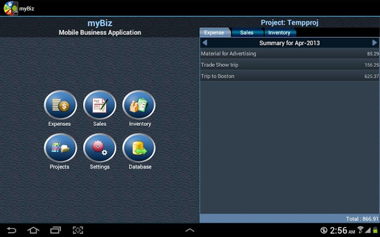 myBiz Mobile Business Manager Screenshot