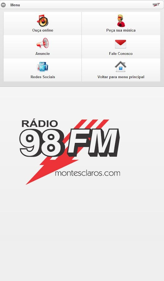 montesclaros.com - Rádio 98FM: captura de tela