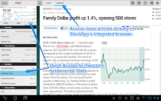 Screenshot of Stock Market Tablet Real-time