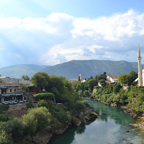 Mostar, Bosnia by Cal Johnson - Novices Only Landscapes ( stari most, sunny day, bridge, mostar, city )