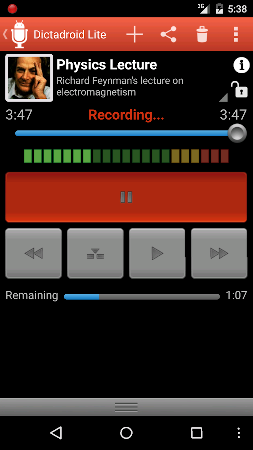 Dictadroid Lite Voice Recorder- screenshot