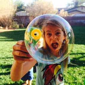Fun day blowing bubbles. Ellie blew the biggest bubble. by Shauna Oliver - Babies & Children Children Candids
