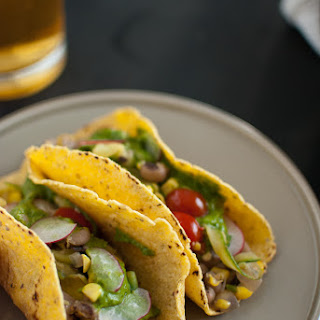 Summer Squash Tacos with Avocado Chimichurri Sauce.