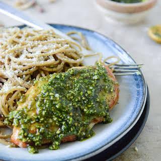 Pistachio Pesto Chicken with Whole Wheat Spaghetti.