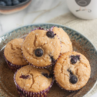 100% Whole Wheat Blueberry Muffins.