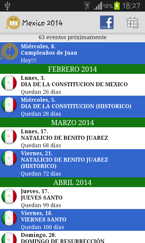Calendario Feriados Mexico - screenshot