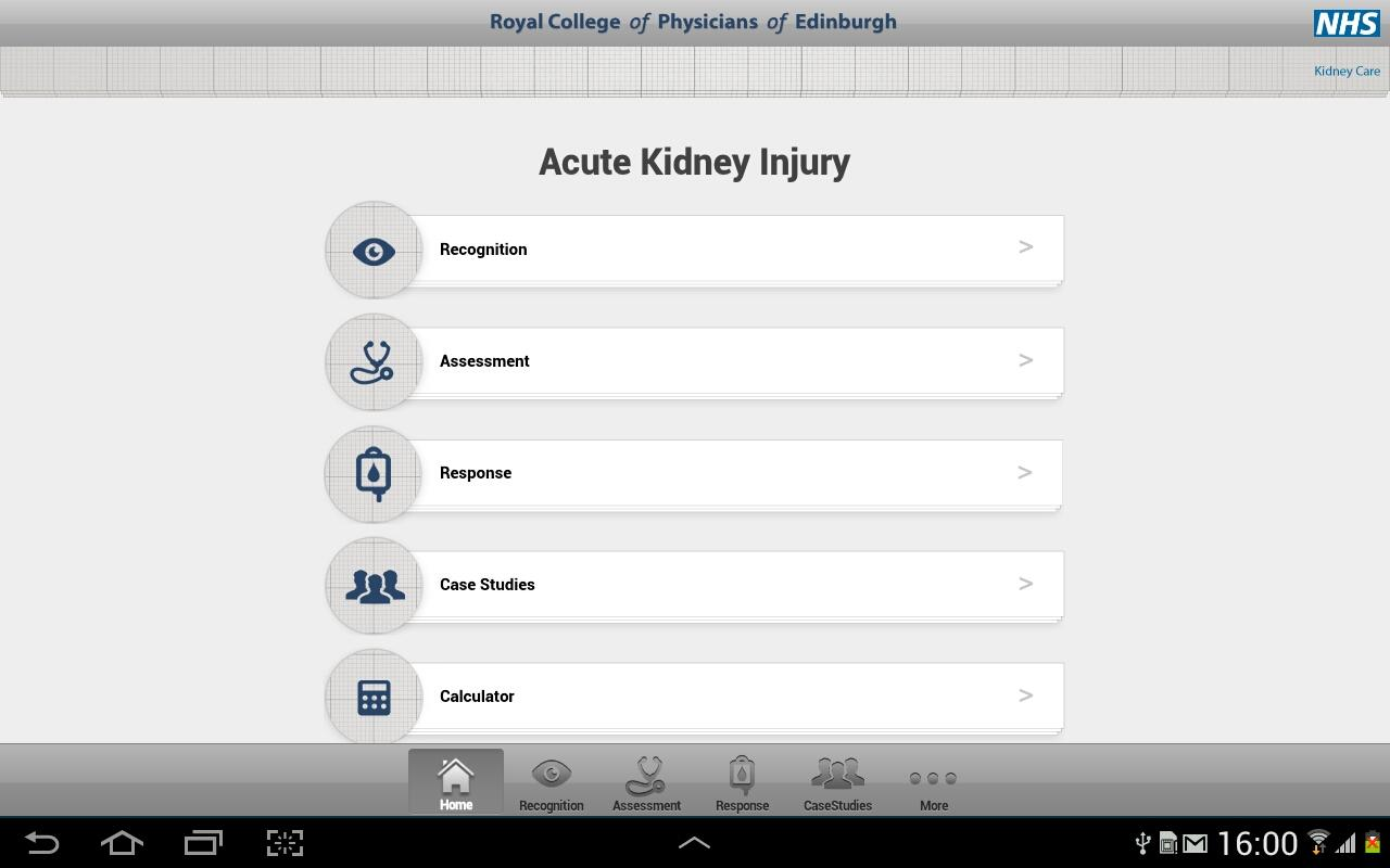 Acute Kidney Injury Tablet App - screenshot