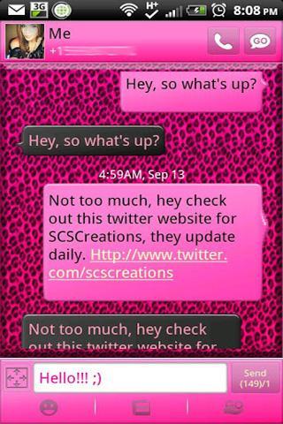 GO SMS - Pink Cheetah