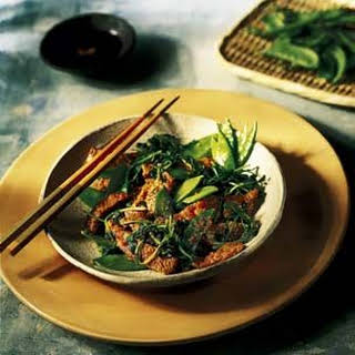 Veal Stir-fry with Snow Peas and Snow Pea Shoots.