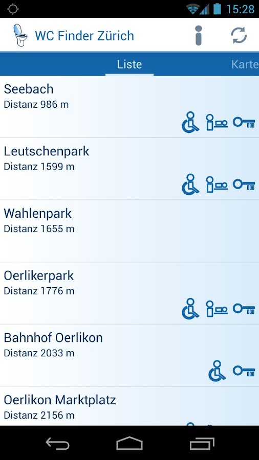 WC Finder Zürich- screenshot