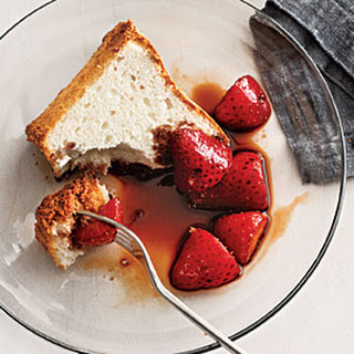Balsamic Strawberries over Angel Food Cake.