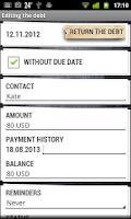 Screenshot of My Debts Lite
