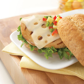 Grilled Chicken with Swiss Cheese & Pineapple Salsa