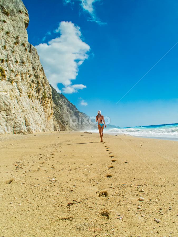 walking in paradise... by Ranko Krneta - Landscapes Beaches ( clouds, sand, greece, clouds and sea, lefkada, sea, feet, ass, beach, seascape, bikini, sun, cloud formations, sky, girl, blue, summer, legs,  )