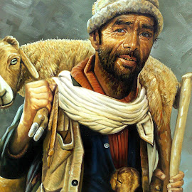 Born To Breed by Hassan Nasir - Painting All Painting ( islamabad, village, goat, paint, oil art, painting, oil )
