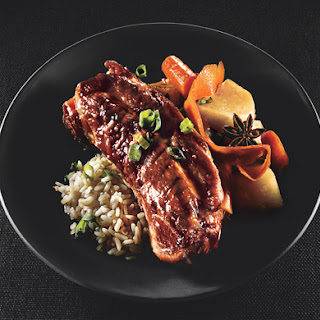 Soy-Braised Pork Country Ribs with Carrots and Turnips.