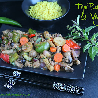 Thai Basil Pork and Vegetable Stir Fry.