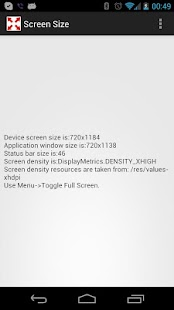 Screen Size and Density - screenshot thumbnail
