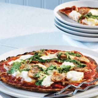 Sausage & Arugula Pita Pizzas