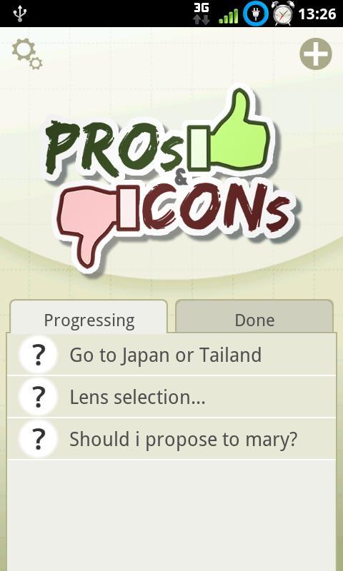 Pros & Cons - screenshot